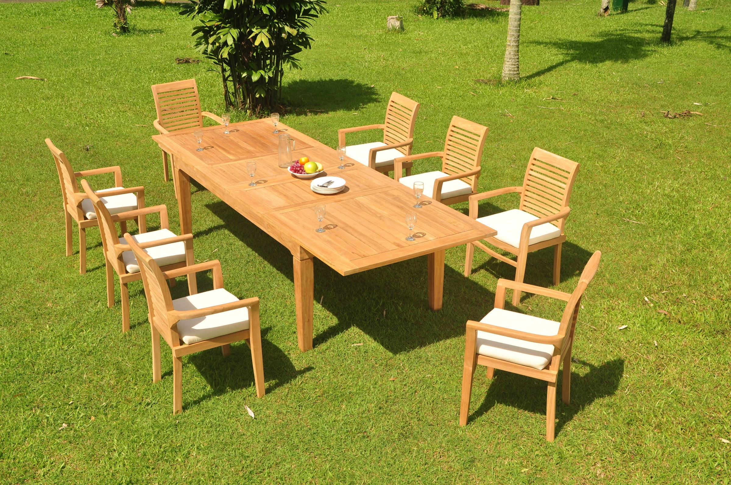 A Grade Teak 9pc Dining 122 Caranas Rectangle Table Mas Stacking